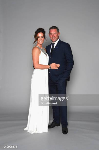 ViceCaptain Lee Westwood of Europe poses with girlfriend Helen Storey prior to the 2018 Ryder Cup Gala at the Palace of Versailles on September 26...