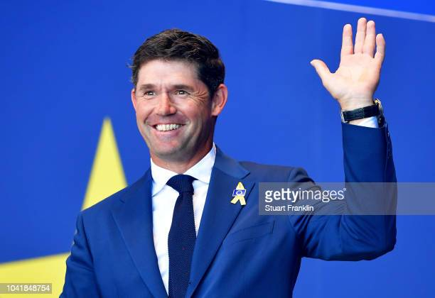 ViceCaptain Padraig Harrington of Europe is introduced during the opening ceremony for the 2018 Ryder Cup at Le Golf National on September 27 2018 in...