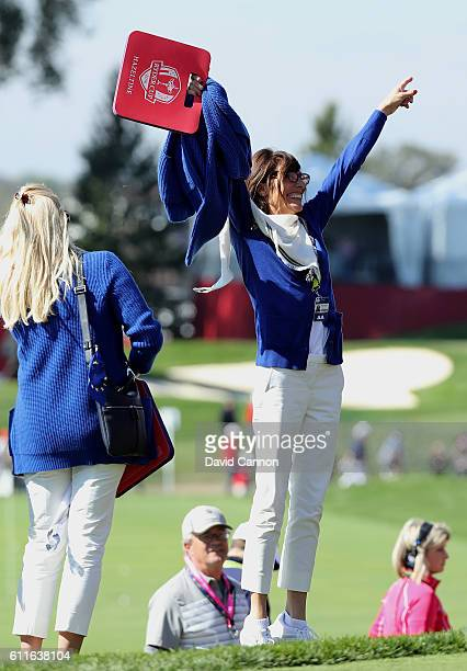 Vicecaptain Sam Torrance of Europe looks on from the first tee during afternoon fourball matches of the 2016 Ryder Cup at Hazeltine National Golf...