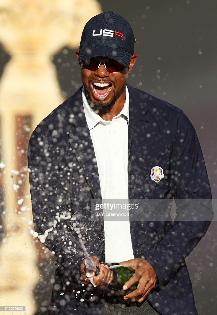 Vice-captain Tiger Woods of the United States celebrates during the closing ceremony of the 2016 Ryder Cup at Hazeltine National Golf Club on October 2, 2016 in Chaska, Minnesota.