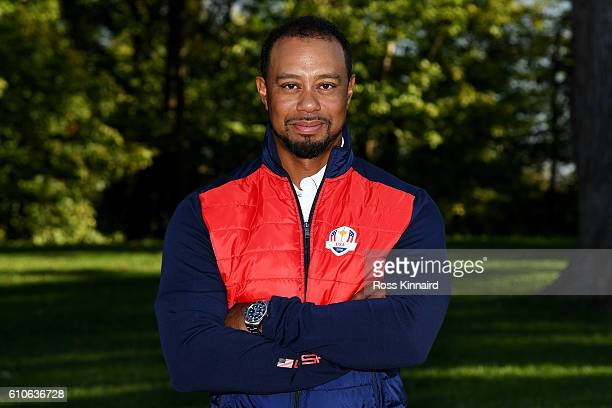 Vicecaptain Tiger Woods of the United States poses during team photocalls prior to the 2016 Ryder Cup at Hazeltine National Golf Club on September 27...
