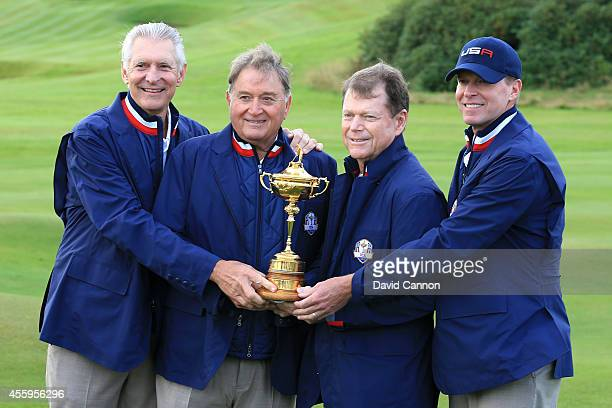 ViceCaptains Andy North Raymond Floyd Tom Watson Captain of the United States and ViceCaptain Steve Stricker pose with the Ryder Cup trophy during...