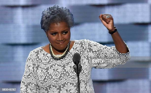 DNC ViceChair Donna Brazile gestures during Day 2 of the Democratic National Convention at the Wells Fargo Center in Philadelphia Pennsylvania July...