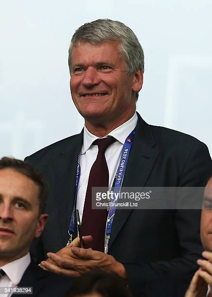 FA vicechairman David Gill looks on during the UEFA Euro 2016 Group B match between Slovakia and England at Stade GeoffroyGuichard on June 20 2016 in...