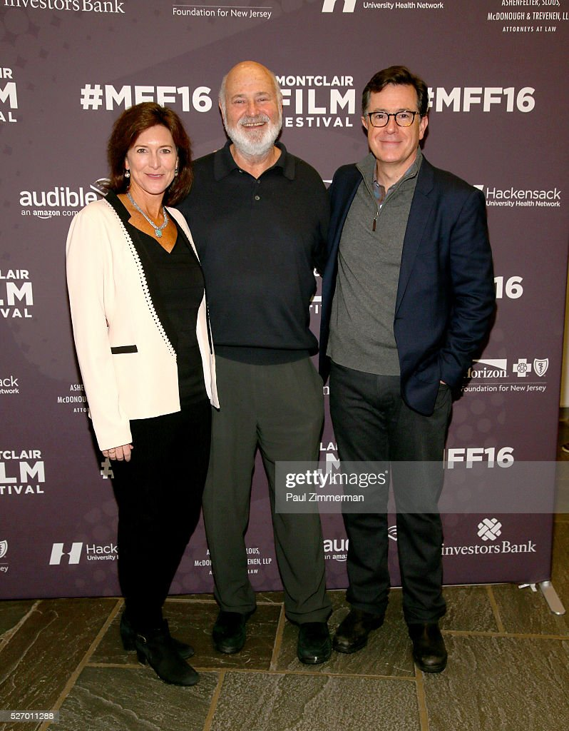 Vice-Chairman of the Board, MFF Evelyn Colbert, Rob Reiner and Stephen Colbert attend the Montclair Film Festival 2016 - Day 3 Conversations at Montclair Kimberly Academy on May 1, 2016 in Montclair, New Jersey.