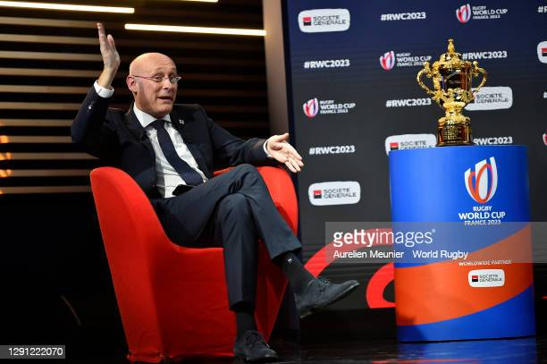Vice-Chairman of World Rugby Bernard Laporte speaks on stage during the Rugby World Cup France 2023 draw at Palais Brongniart on December 14, 2020 in...
