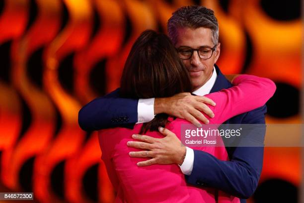 ViceChairwoman and Director of Athlete Relations of Los Angeles 2028 Janet Evans hughs Chairman of Los Angeles 2028 Casey Wasserman during the 131th...
