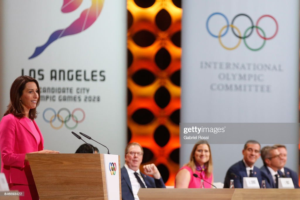 Vice-Chairwoman and Director of Athlete Relations of Los Angeles 2028 Janet Evans talks to the public during her presentation on LA2028 during the 131th IOC Session - 2024 & 2028 Olympics Hosts Announcement at Lima Convention Centre on September 13, 2017 in Lima, Peru.