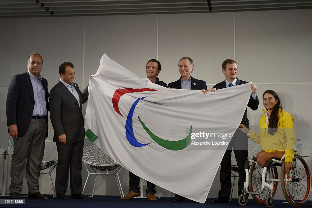 - Vice-Governor of Rio de Janeiro Luis Fernando Pezão, Governor of Rio de Janeiro Sergio Cabral Filho, Mayor of Rio de Janeiro Eduardo Paes, President of Rio 2016 Commite Carlos Arthur Nuzman, President of Brazilian Paralympic commite Andrew Parsons and Paralympic Athlete Natallia Mayara during a press conference at the arrival of Paralympic flag in Rio de Janeiros´s Airport on September 10, 2012 in Rio de Janeiro, Brazil. Rio de Janeiro will host the next Paralympics Games in 2016.