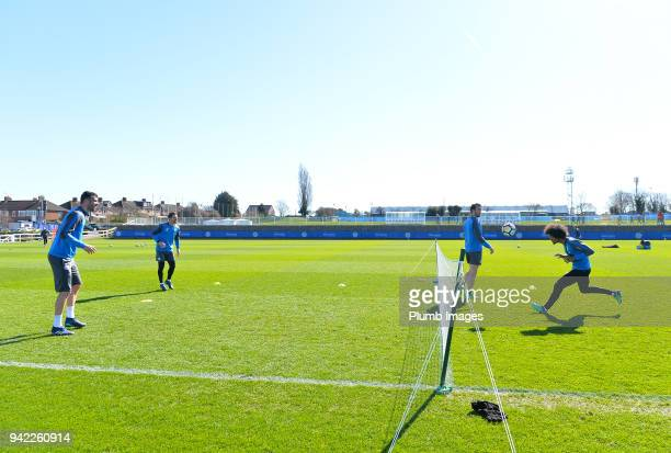 Vicenete Iborra Adrien Silva Christian Fuchs and Hamza Choudhury during the Leicester City training session at Belvoir Drive Training Complex on...