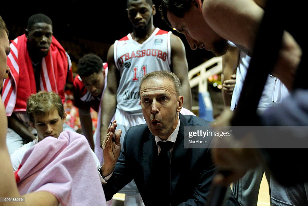 Vicent Collet, Manager Strasbourg SIG reacts during SIG Strasbourg v KK Mornar Regular Season - Group D of Basketball Champions League in Strasbourg, France, on 29 November 2016.