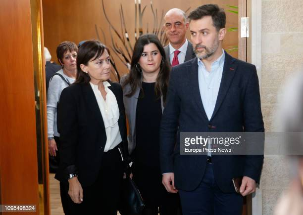 Vicente Alvarez Areces widow Soledad Saavedra her daughter and the counsellor socialist party of Gijón José María Pérez give the last goodbye to the...