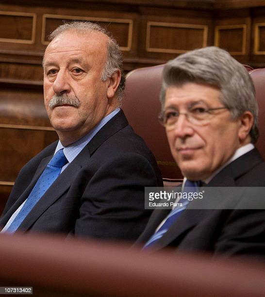 Vicente del Bosque and Enrique Cerezo attend the public reading of the Spanish Constitution at Palace of the Parliament on December 3 2010 in Madrid...