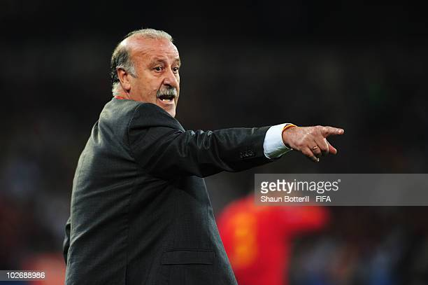 Vicente del Bosque head coach of Spain gestures during the 2010 FIFA World Cup South Africa Semi Final match between Germany and Spain at Durban...