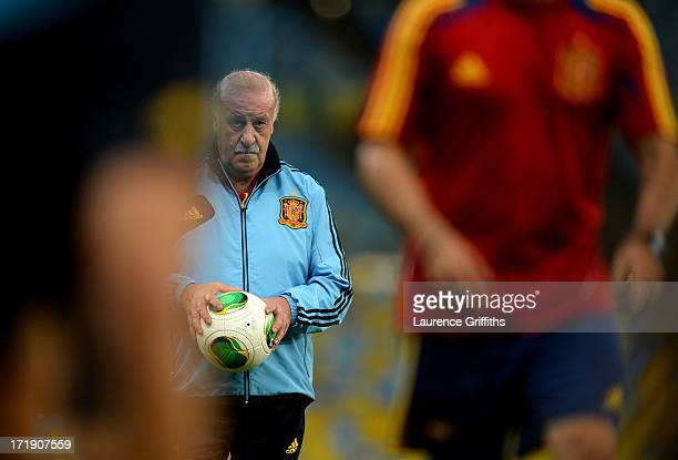 Vicente Del Bosque head coach of Spain looks on during a training session ahead of their FIFA Confederations Cup Brazil 2013 Final match against...