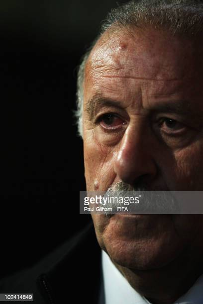 Vicente del Bosque head coach of Spain watches the 2010 FIFA World Cup South Africa Group H match between Chile and Spain at Loftus Versfeld Stadium...