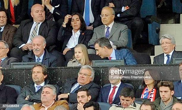 Vicente del Bosque King Felipe of Spain his daughter Princess Leonor and Enrique Cornejo attend the UEFA Champions League semi final first leg match...