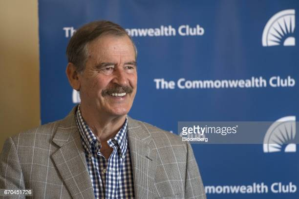 Vicente Fox former President of Mexico smiles during a press event at the Commonwealth Club of California in San Francisco California US on Wednesday...