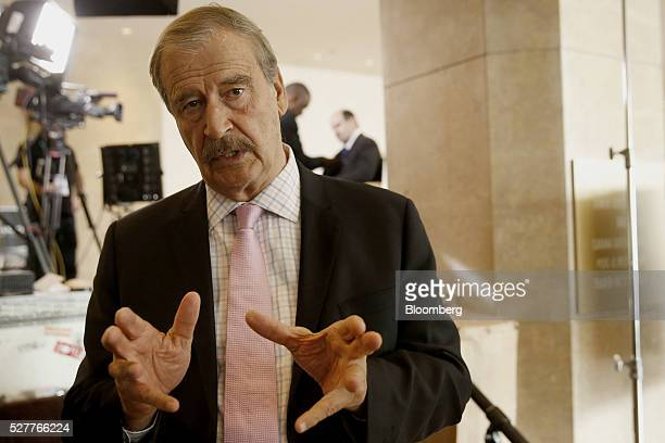 Vicente Fox former President of Mexico speaks after a Bloomberg Television interview at the annual Milken Institute Global Conference in Beverly...