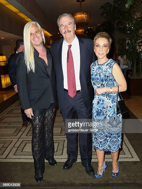 Vicente Fox Marta Sahagun de Fox and Daniel Dicriscio are seen on August 12 2016 in Los Angeles California