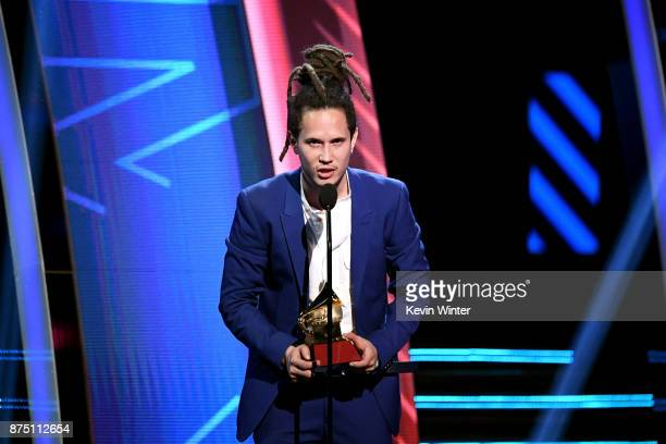 Vicente Garcia accepts Best New Artist onstage at the 18th Annual Latin Grammy Awards at MGM Grand Garden Arena on November 16 2017 in Las Vegas...