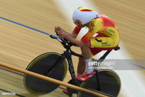 Vicente Garcia De Mateos Rubio of Spain cycles against Mikhail Shemetau of Belarus in the men's individual pursuit qualifier at the 2017 Track...
