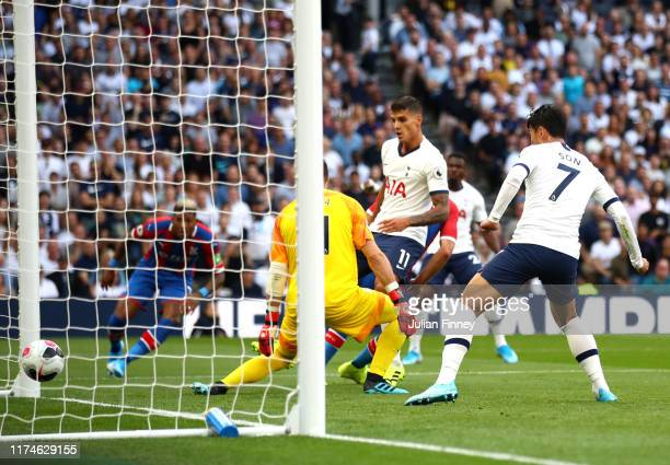 Vicente Guaita of Crystal Palace fails to save as Patrick van Aanholt of Crystal Palace scores an own goal Tottenham Hotspur's second goal during the...