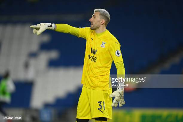 Vicente Guaita of Crystal Palace gives instructions during the Premier League match between Brighton & Hove Albion and Crystal Palace at American...