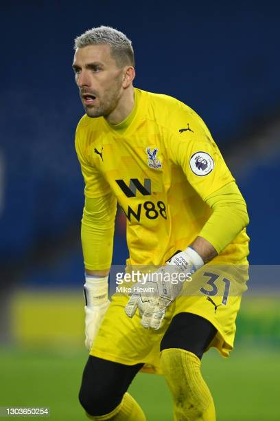 Vicente Guaita of Crystal Palace looks on during the Premier League match between Brighton & Hove Albion and Crystal Palace at American Express...