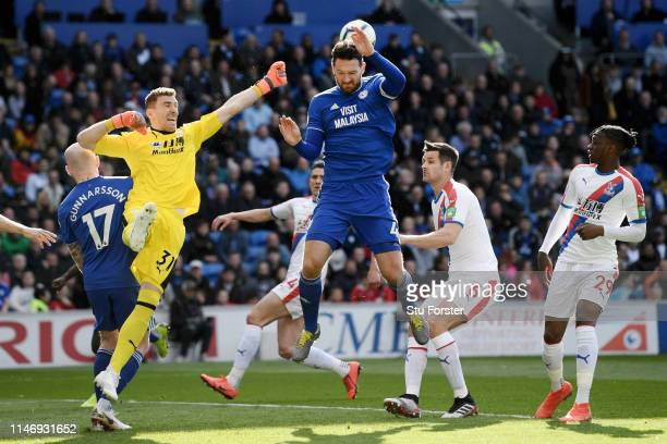 Vicente Guaita of Crystal Palace saves a shot from Sean Morrison of Cardiff City during the Premier League match between Cardiff City and Crystal...