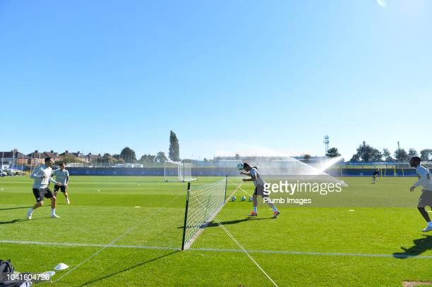 Vicente Iborra Adrien Silva Christian Fuchs and Ricardo Pereira during the Leicester City training session at Belvoir Drive Training Complex on...
