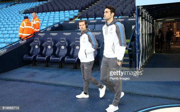 Vicente Iborra and Adrien Silva of Leicester City at Etihad Stadium ahead of the Premier League match between Manchester City and Leicester City at...