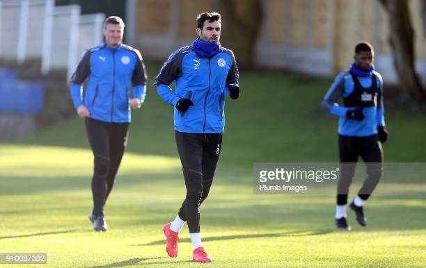 Vicente Iborra during the Leicester City training session at Belvoir Drive Training Complex on January 25 2018 in Leicester United Kingdom