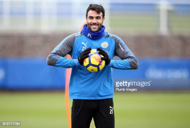 Vicente Iborra during the Leicester City training session at Belvoir Drive Training Complex on February 08 2018 in Leicester United Kingdom