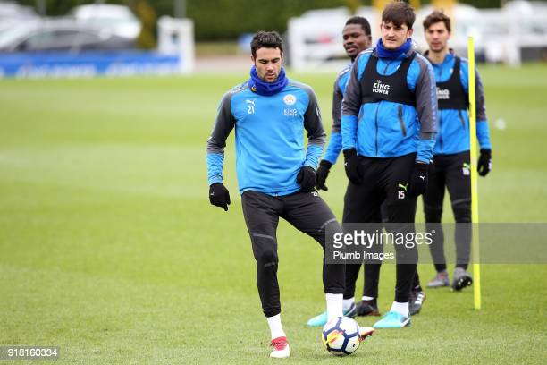 Vicente Iborra during the Leicester City training session at Belvoir Drive Training Complex on February 14 2018 in Leicester United Kingdom