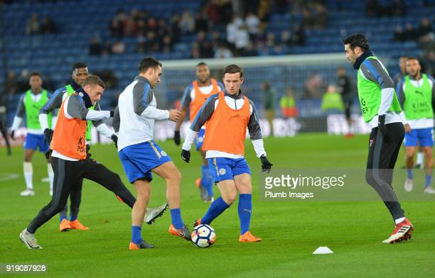 Vicente Iborra Jamie Vardy Ben Chilwell and Matty James of Leicester City warm up at King Power Stadium ahead of the FA Cup fifth round match between...