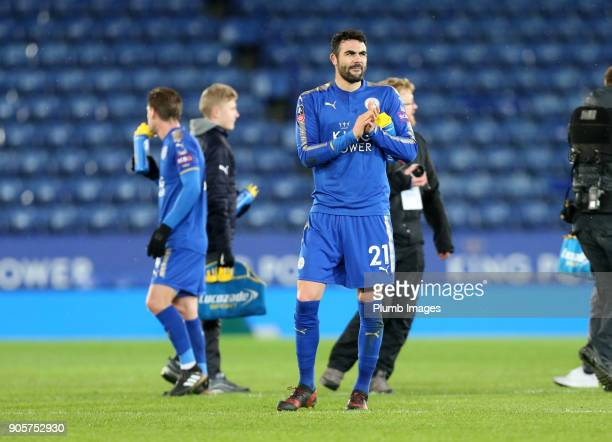 Vicente Iborra of Leicester City after the FA Cup Third round replay between Leicester City and Fleetwood Town at The King Power Stadium on January...