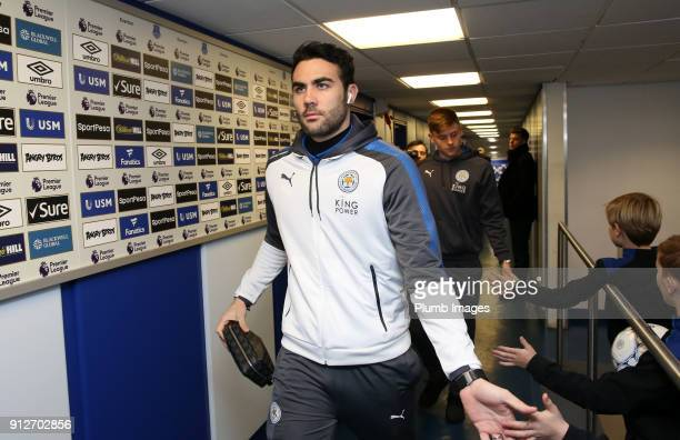 Vicente Iborra of Leicester City arrives at Goodison Park ahead of the Premier League match between Everton and Leicester City at Goodison Park on...