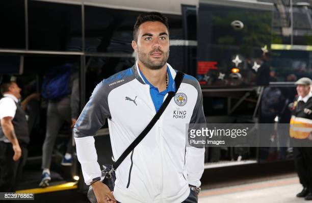 Vicente Iborra of Leicester City arrives at Stadium MK ahead of the pre season friendly between MK Dons and Leicester City on July 28th 2017 in...