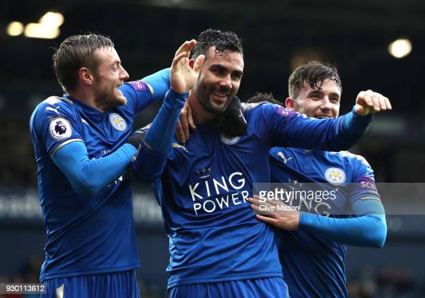 Vicente Iborra of Leicester City celebrates after scoring his sides fourth goal with Jamie Vardy of Leicester City and Ben Chilwell of Leicester City...