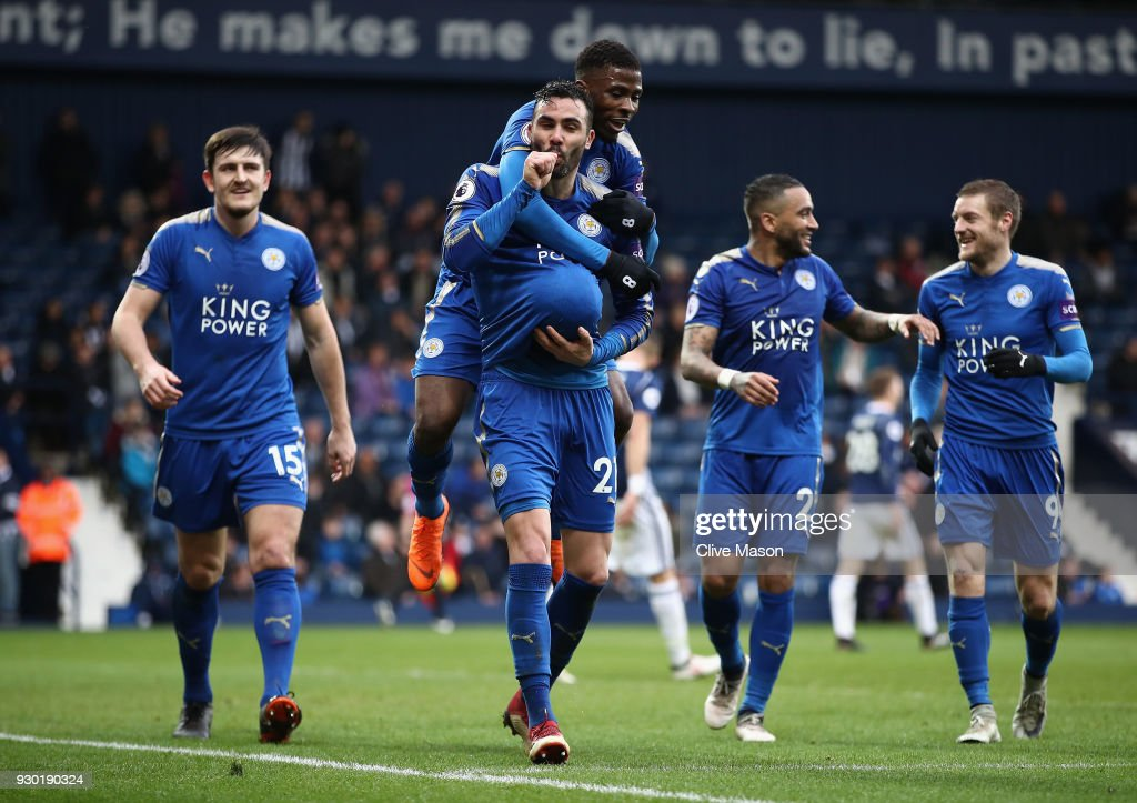 Vicente Iborra of Leicester City celebrates after scoring his sides fourth goal with his Leicester City team mates during the Premier League match between West Bromwich Albion and Leicester City at The Hawthorns on March 10, 2018 in West Bromwich, England.