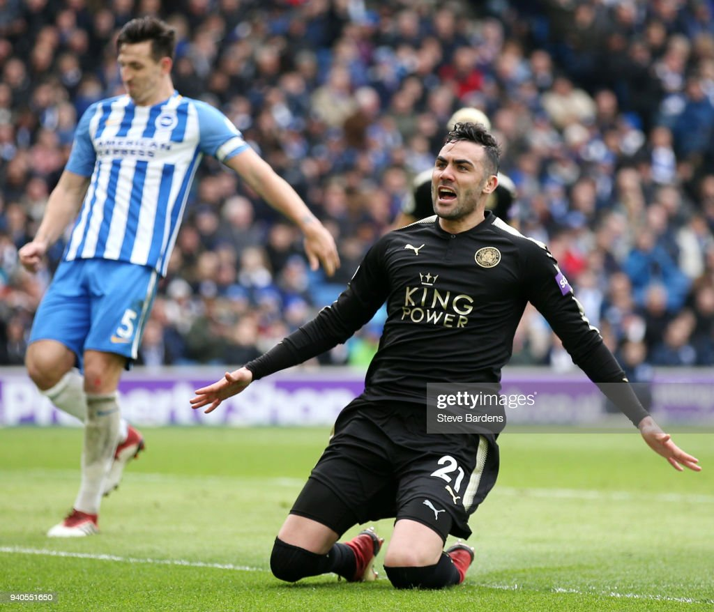 Vicente Iborra of Leicester City celebrates after scoring his sides first goal during the Premier League match between Brighton and Hove Albion and Leicester City at Amex Stadium on March 31, 2018 in Brighton, England.