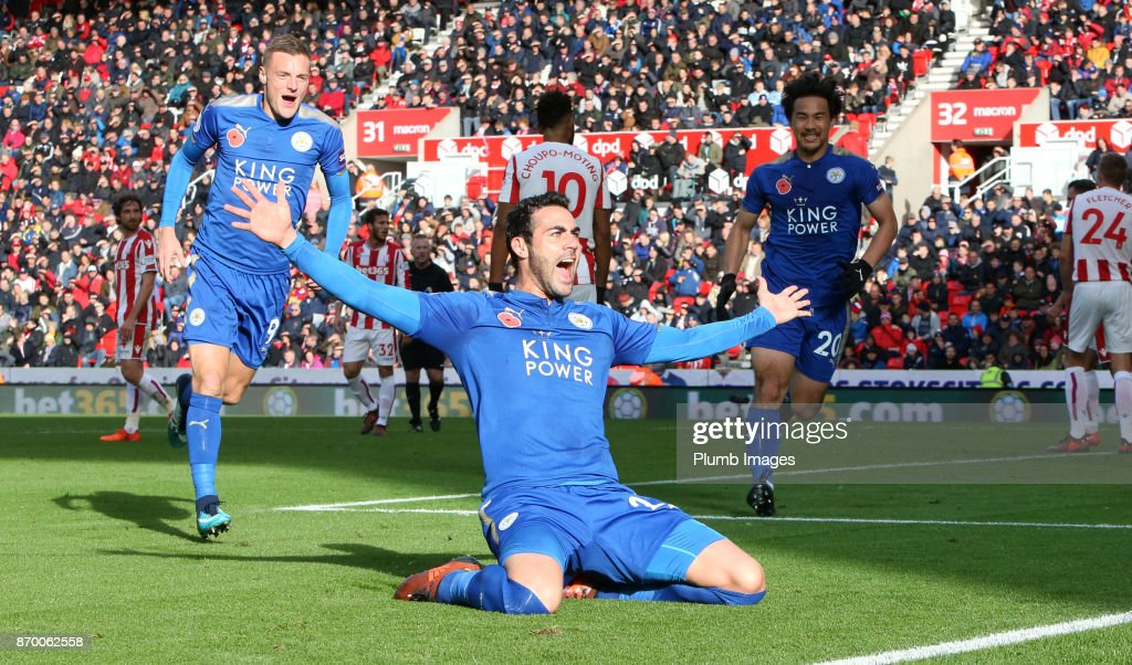 Vicente Iborra of Leicester City celebrates after scoring to make it 0-1 during the Premier League match between Stoke City and Leicester City at Bet365 Stadium on November 4th, 2017 in Stoke on Trent, United Kingdom