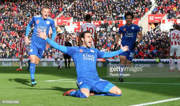 Vicente Iborra of Leicester City celebrates after scoring to make it 01 during the Premier League match between Stoke City and Leicester City at...