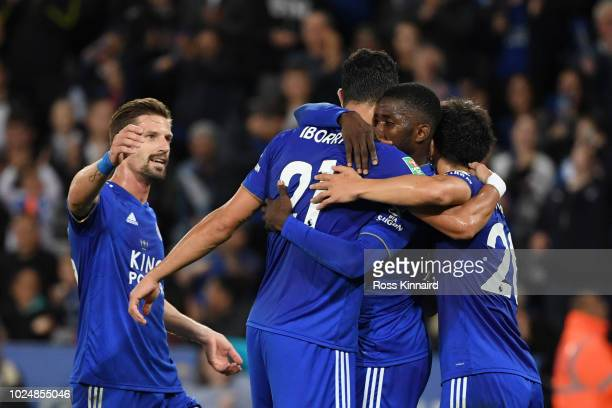Vicente Iborra of Leicester City celebrates with team mates after scoring his team's second goal during the Carabao Cup Second Round match between...