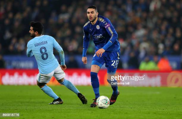 Vicente Iborra of Leicester City during the Carabao Cup QuarterFinal match between Leicester City and Manchester City at The King Power Stadium on...