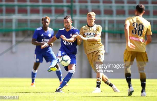 Vicente Iborra of Leicester City in action with Antonin Barak of Udinese during the preseason friendly match between Leicester City and Udinese at...