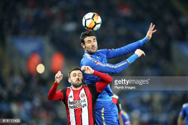 Vicente Iborra of Leicester City in action with Danny Lafferty of Sheffield United during the FA Cup fifth round match between Leicester City and...