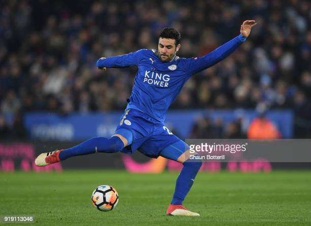 Vicente Iborra of Leicester City passes the ball during the The Emirates FA Cup Fifth Round between Leicester City and Sheffield United at The King...