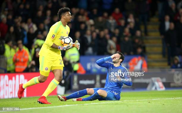 Vicente Iborra of Leicester City reacts after seeing a shot saved by Jamal Blackman of Sheffield United during the FA Cup fifth round match between...